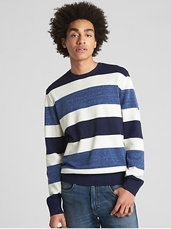 Rugby Stripe Crewneck Pullover Sweater