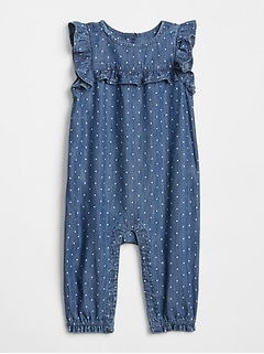 Dot Ruffle Denim One-Piece