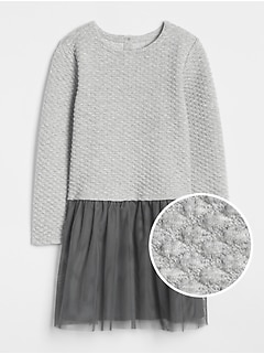 Mix-Fabric Sweater Dress