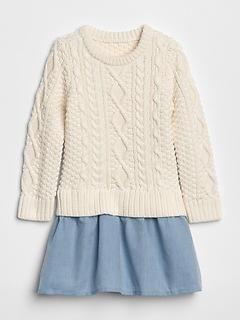 Sweater Mix-Fabric Dress