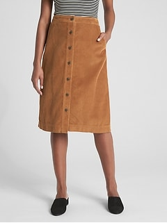Button-Front Cord Midi Skirt