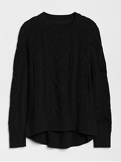 Hi-Lo Cable-Knit Sweater
