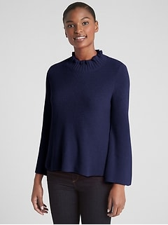 Ruffle Mockneck Pullover Sweater