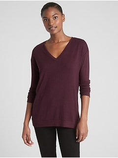 Softspun V-Neck Pullover Sweater Tunic