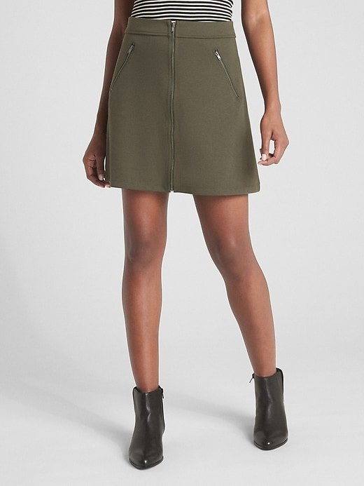 Zip-Front Mini Skirt in Ponte