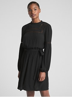 Long Sleeve Lace-Trim Dress