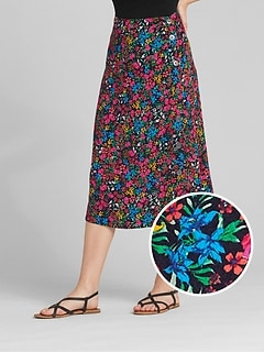 Button Floral Print Midi Skirt