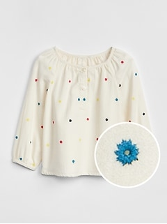 Embroidered Dot Top