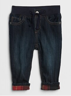 Jersey-Lined Slim Fit Jeans