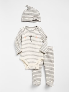 First Favorite Graphic Stripe Bodysuit Set (3-Pack)