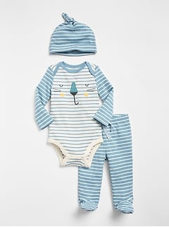 First Favorite Graphic Stripe Bodysuit Set