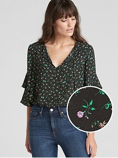 Ruffle Sleeve Floral Print Blouse