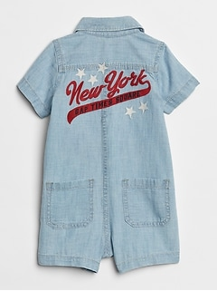 Embroidered Denim Shortie One-Piece