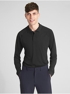 GapFit Breathe Long Sleeve Pique Polo Shirt