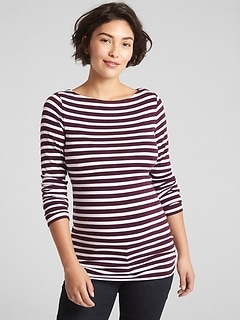 Maternity Modern Stripe Boatneck T-Shirt