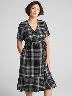 Maternity Plaid Midi Wrap Dress