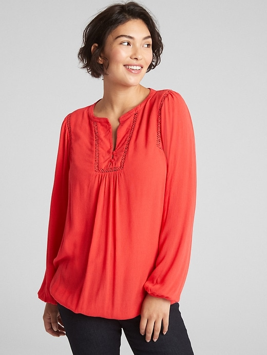 Maternity Crinkle Lace-Trim Blouse