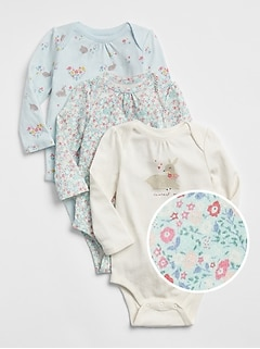 First Favorite Deer Floral Bodysuit (3-Pack)