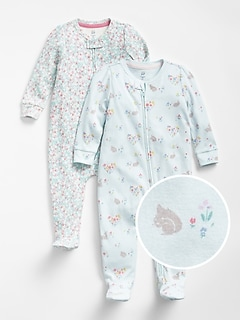 First Favorite Bunny Floral Footed One-Piece (2-Pack)