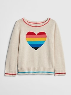 Rainbow Heart Pullover Sweater