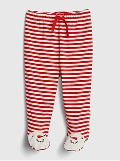 Organic Cotton Snowman Footed Pull-On Pants