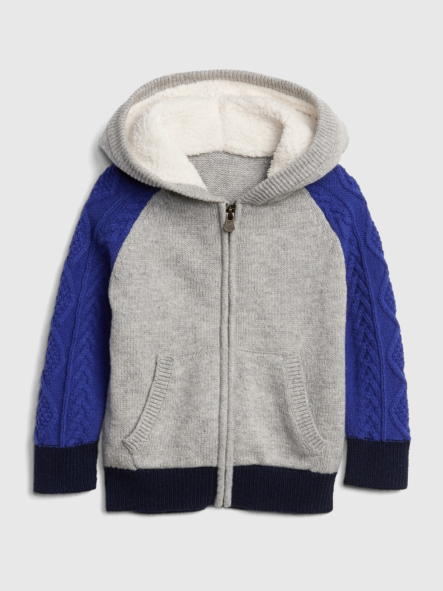 Sherpa Cable Knit Hoodie Sweater Gap