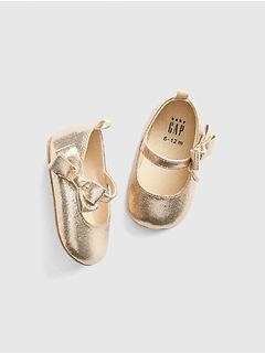 Shiny Bow Ballet Flats