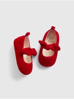 Velvet Bow Ballet Flats