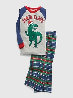 Holiday Dino Flannel PJ Set