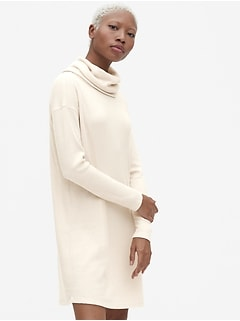 Softspun Ribbed Cowl-Neck Sweater Dress