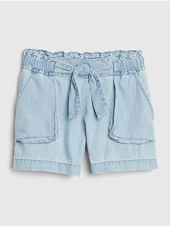 Denim Paperbag-Waist Shorts