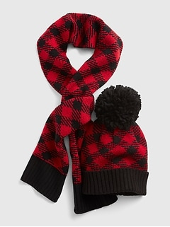 Buffalo Plaid Beanie Set