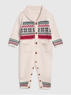 Fair Isle Shawl-Collar One-Piece