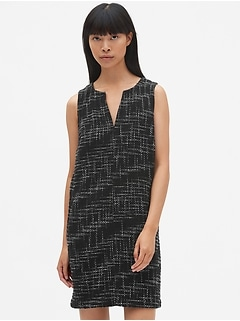 Sleeveless Split-Neck Shift Dress in Tweed