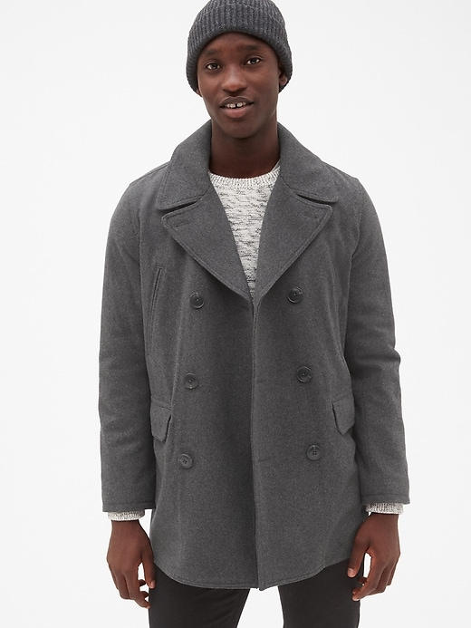 Gap Mens Wool-Blend Peacoat