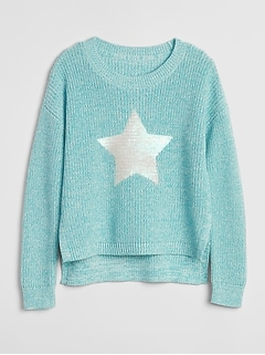 Sequin Graphic Crewneck Sweater