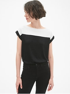 Softspun Short Sleeve Colorblock Boatneck Top