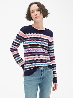 Fair Isle Stripe Crewneck Sweater