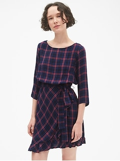 Plaid Faux-Wrap Ruffle Hem Dress