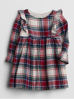 Plaid Cascade Ruffle Dress