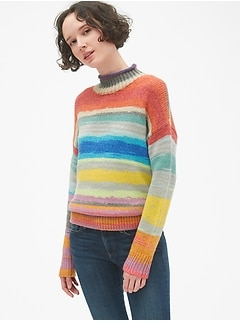 Crazy Stripe Mockneck Pullover Sweater
