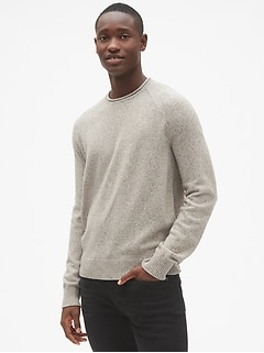 Marled Roll-Neck Pullover Sweater in Wool-Blend