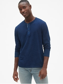 Long Sleeve Indigo Henley