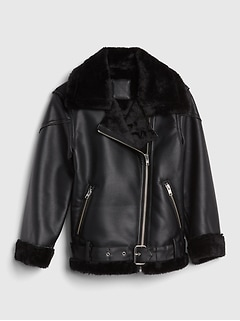 Faux-Fur Biker Jacket