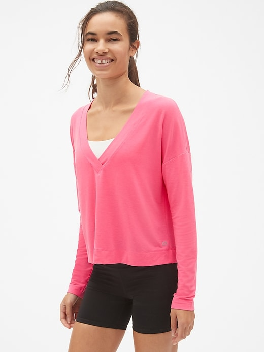 Gap Womens Breathe Deep-V Reversible Pullover Devi Pink Size XS