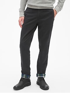 Flannel-Lined Khakis in Slim Fit with GapFlex