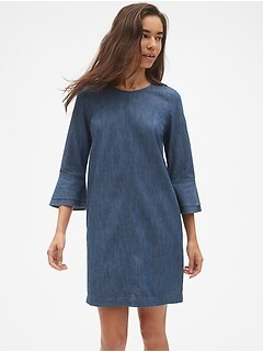 Denim Bell Sleeve Shift Dress