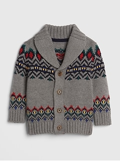 Mountain Fair Isle Shawl-Collar Cardigan Sweater