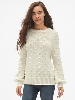 Bobble Stitch Blouson Sleeve Pullover Sweater
