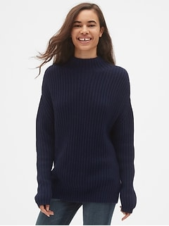 Shaker Stitch Pullover Turtleneck Sweater